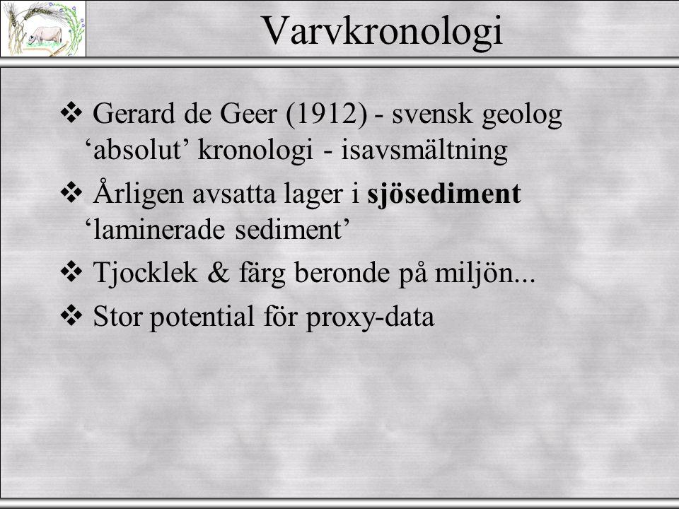 Varvkronologi Gerard de Geer (1912) - svensk geolog 'absolut' kronologi - isavsmältning. Årligen avsatta lager i sjösediment 'laminerade sediment'