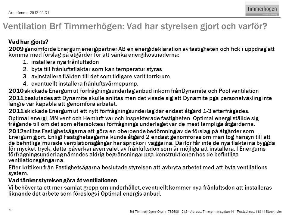 Ventilation Brf Timmerhögen: Vad har styrelsen gjort och varför