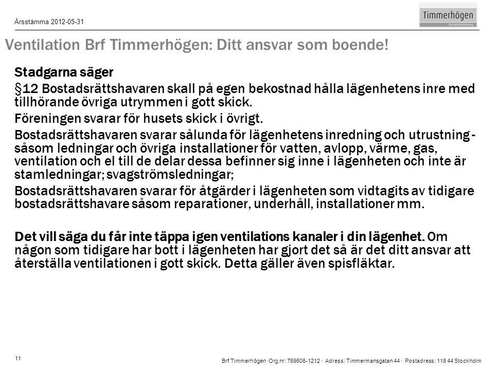 Ventilation Brf Timmerhögen: Ditt ansvar som boende!
