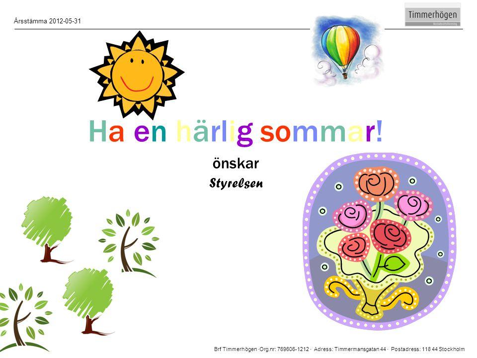 Ha en härlig sommar! önskar Styrelsen