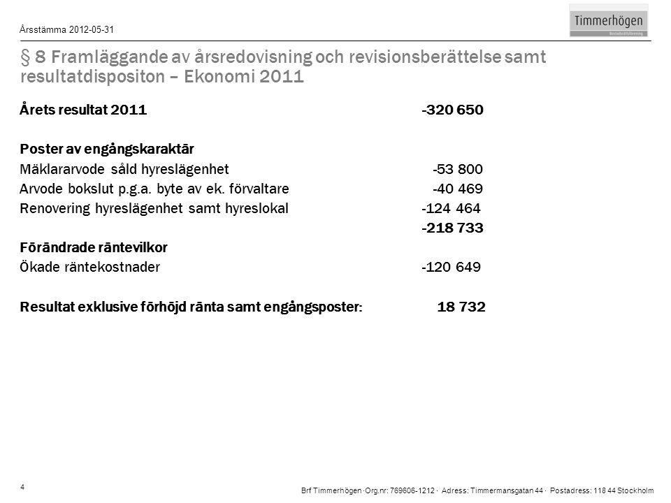 § 8 Framläggande av årsredovisning och revisionsberättelse samt resultatdispositon – Ekonomi 2011