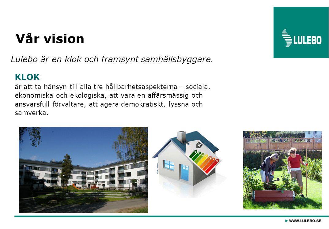 Vår vision Lulebo är en klok och framsynt samhällsbyggare. KLOK