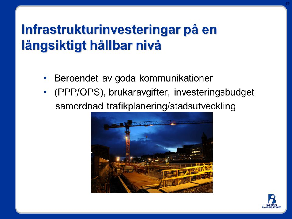 Infrastrukturinvesteringar på en långsiktigt hållbar nivå