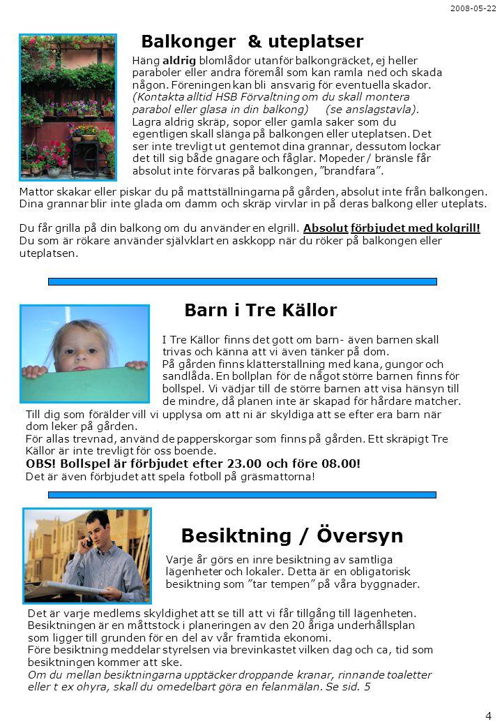 Besiktning / Översyn Balkonger & uteplatser Barn i Tre Källor