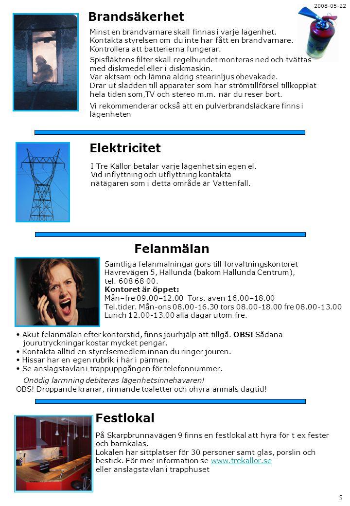Brandsäkerhet Elektricitet Felanmälan Festlokal