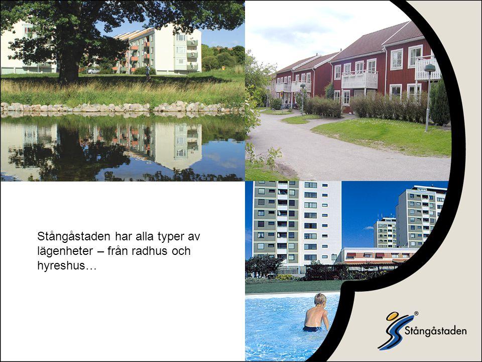 Stångåstaden har alla typer av lägenheter – från radhus och hyreshus…