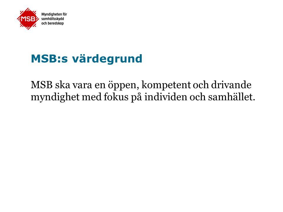 MSB:s värdegrund MSB ska vara en öppen, kompetent och drivande myndighet med fokus på individen och samhället.