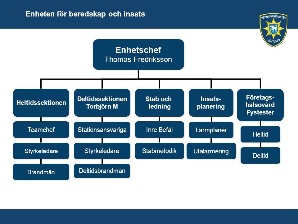 Enhetschef Enheten för beredskap och insats Thomas Fredriksson