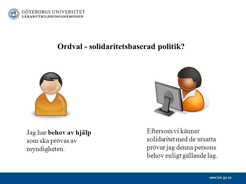 Ordval - solidaritetsbaserad politik