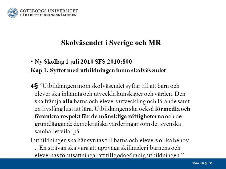Skolväsendet i Sverige och MR