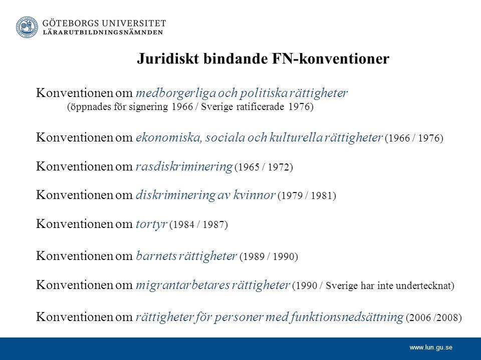 Juridiskt bindande FN-konventioner