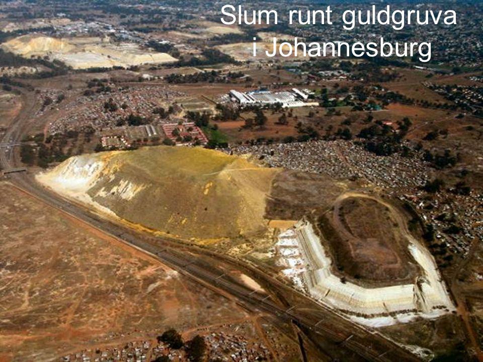 Slum runt guldgruva i Johannesburg