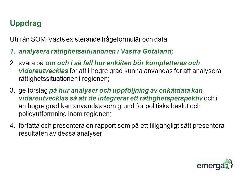 Uppdrag Utifrån SOM-Västs existerande frågeformulär och data
