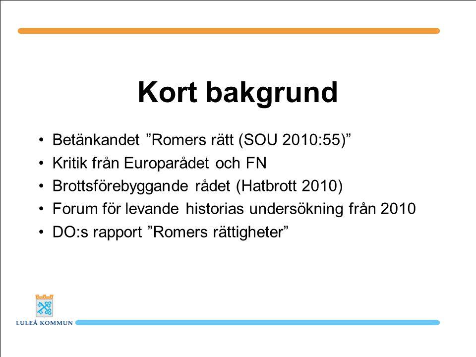 Kort bakgrund Betänkandet Romers rätt (SOU 2010:55)
