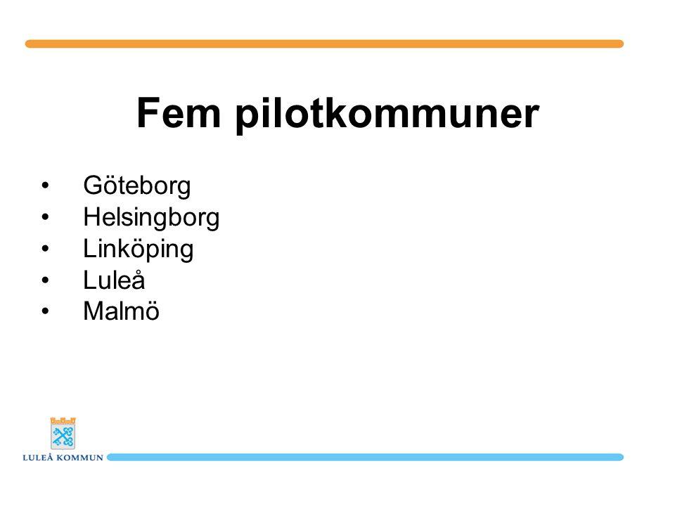 Fem pilotkommuner Göteborg Helsingborg Linköping Luleå Malmö