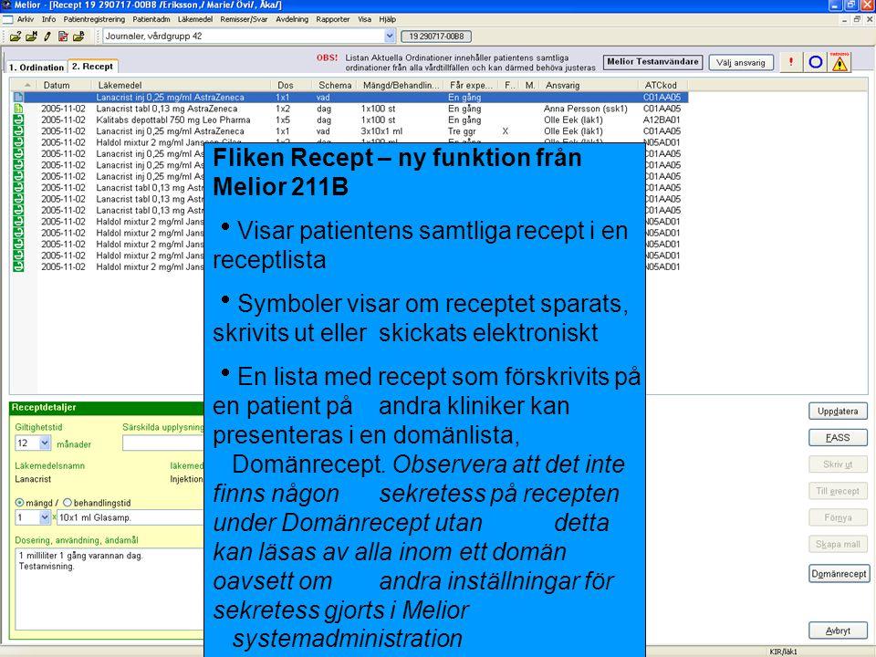 Fliken Recept – ny funktion från Melior 211B