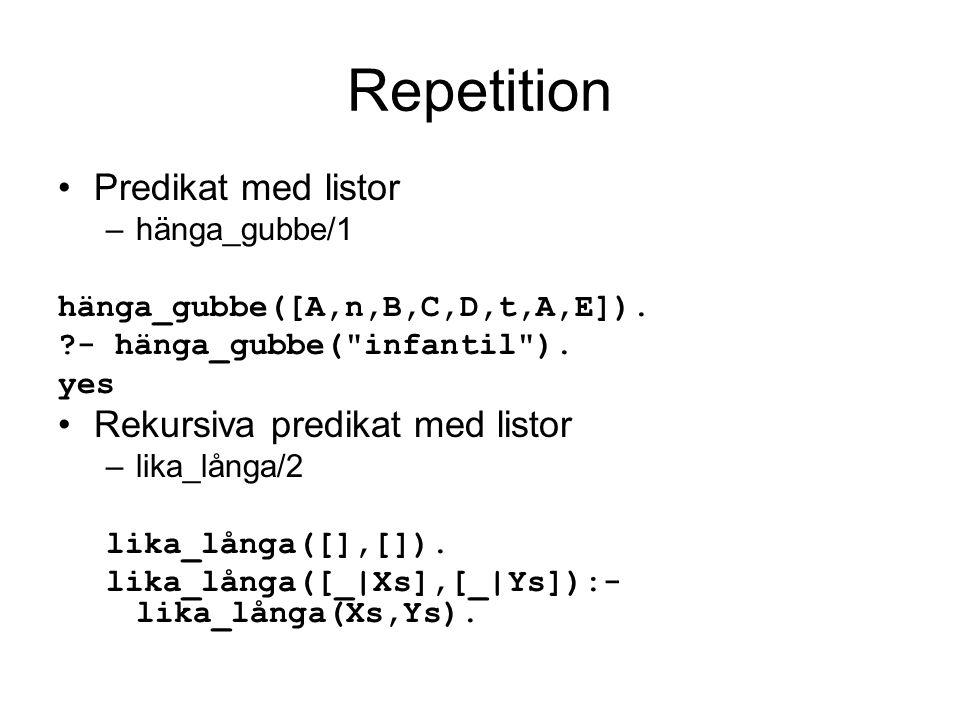 Repetition Predikat med listor Rekursiva predikat med listor