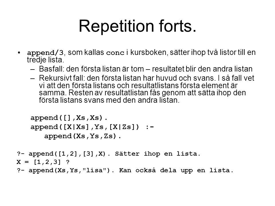 Repetition forts. append/3, som kallas conc i kursboken, sätter ihop två listor till en tredje lista.