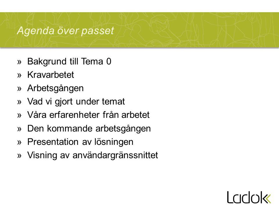 Agenda över passet Bakgrund till Tema 0 Kravarbetet Arbetsgången