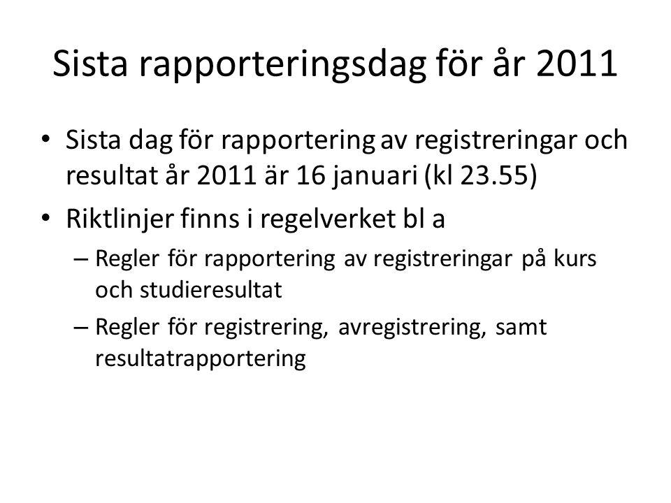 Sista rapporteringsdag för år 2011