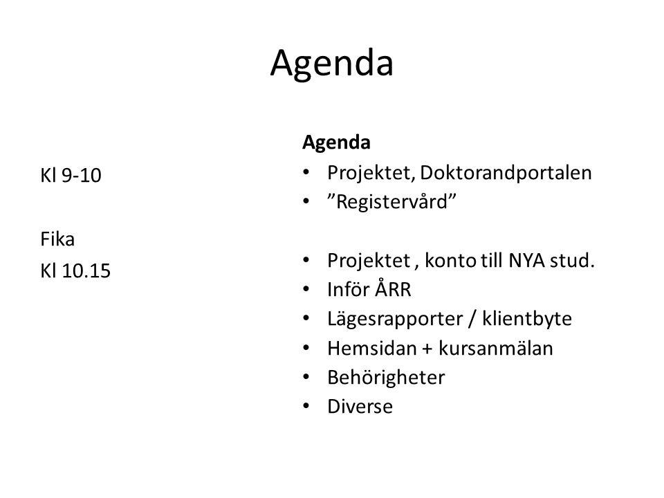 Agenda Agenda Kl 9-10 Fika Kl 10.15 Projektet, Doktorandportalen