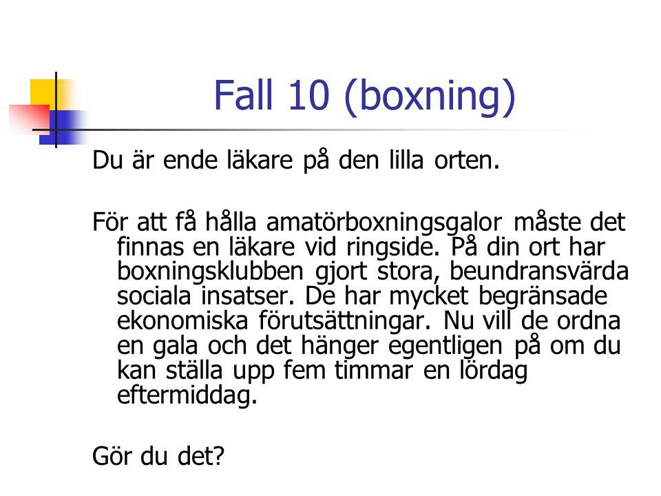 Fall 10 (boxning) Du är ende läkare på den lilla orten.