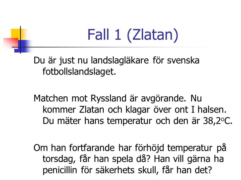Fall 1 (Zlatan) Du är just nu landslagläkare för svenska fotbollslandslaget.