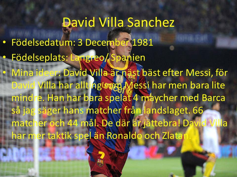 David Villa Sanchez Födelsedatum: 3 December 1981