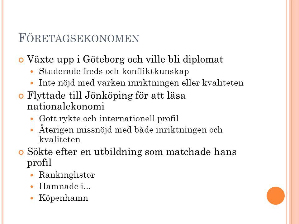 Företagsekonomen Växte upp i Göteborg och ville bli diplomat