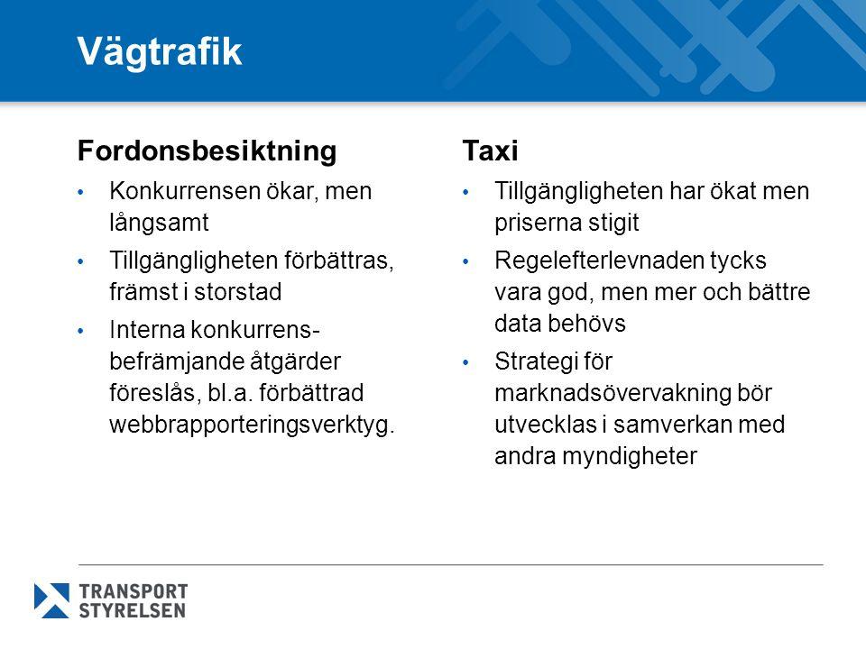 Vägtrafik Fordonsbesiktning Taxi Konkurrensen ökar, men långsamt
