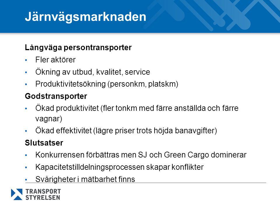 Järnvägsmarknaden Långväga persontransporter Fler aktörer