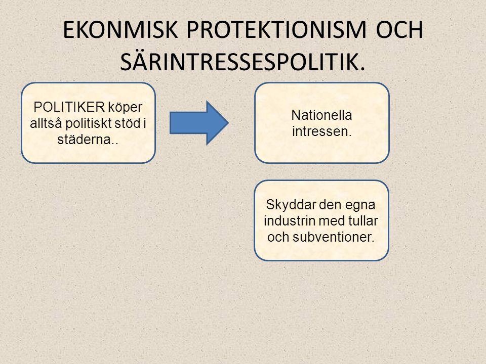 EKONMISK PROTEKTIONISM OCH SÄRINTRESSESPOLITIK.