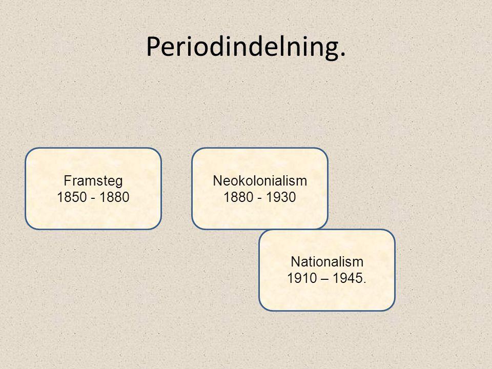 Periodindelning. Framsteg 1850 - 1880 Neokolonialism 1880 - 1930