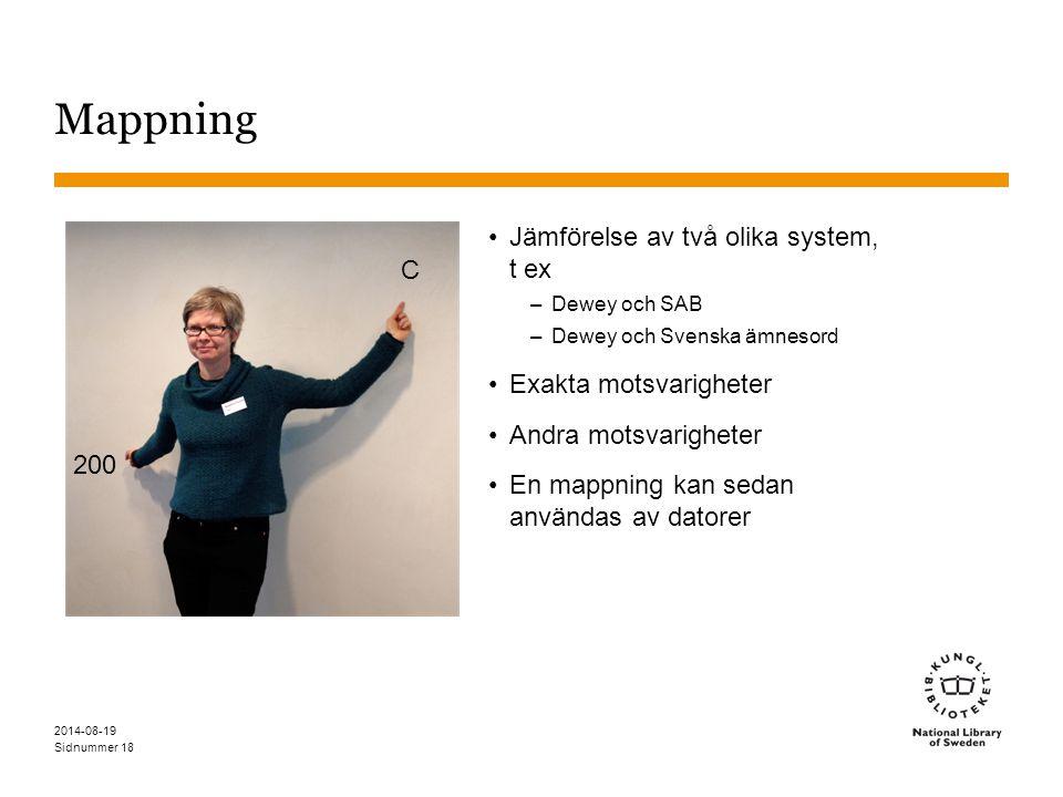 Mappning Jämförelse av två olika system, t ex C Exakta motsvarigheter