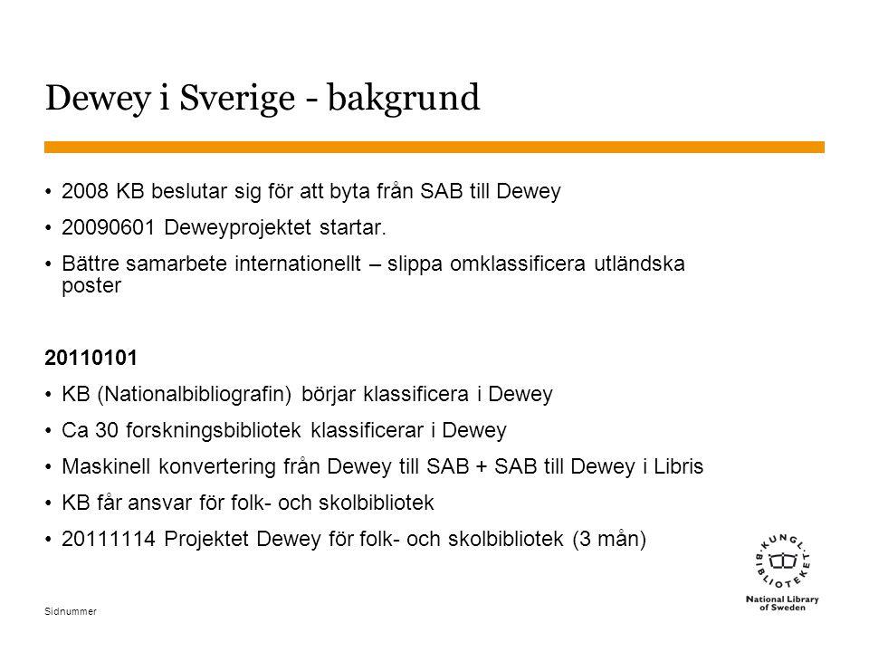 Dewey i Sverige - bakgrund