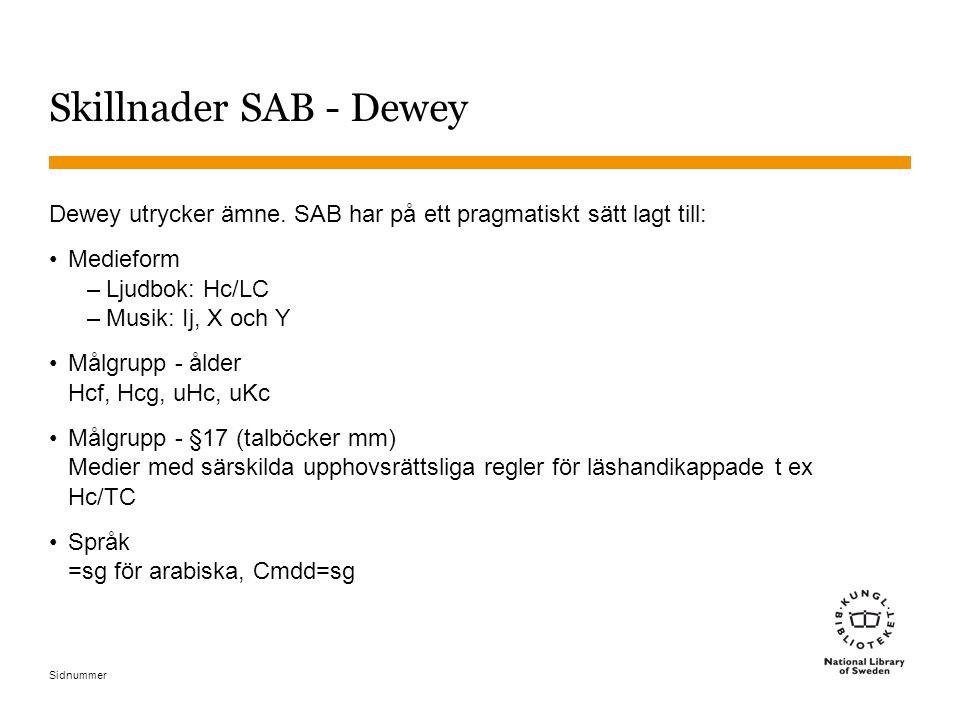 Skillnader SAB - Dewey Dewey utrycker ämne. SAB har på ett pragmatiskt sätt lagt till: Medieform. Ljudbok: Hc/LC.