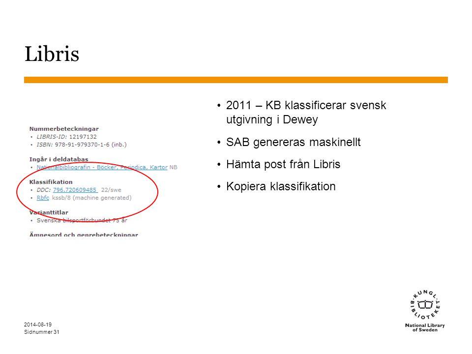 Libris 2011 – KB klassificerar svensk utgivning i Dewey
