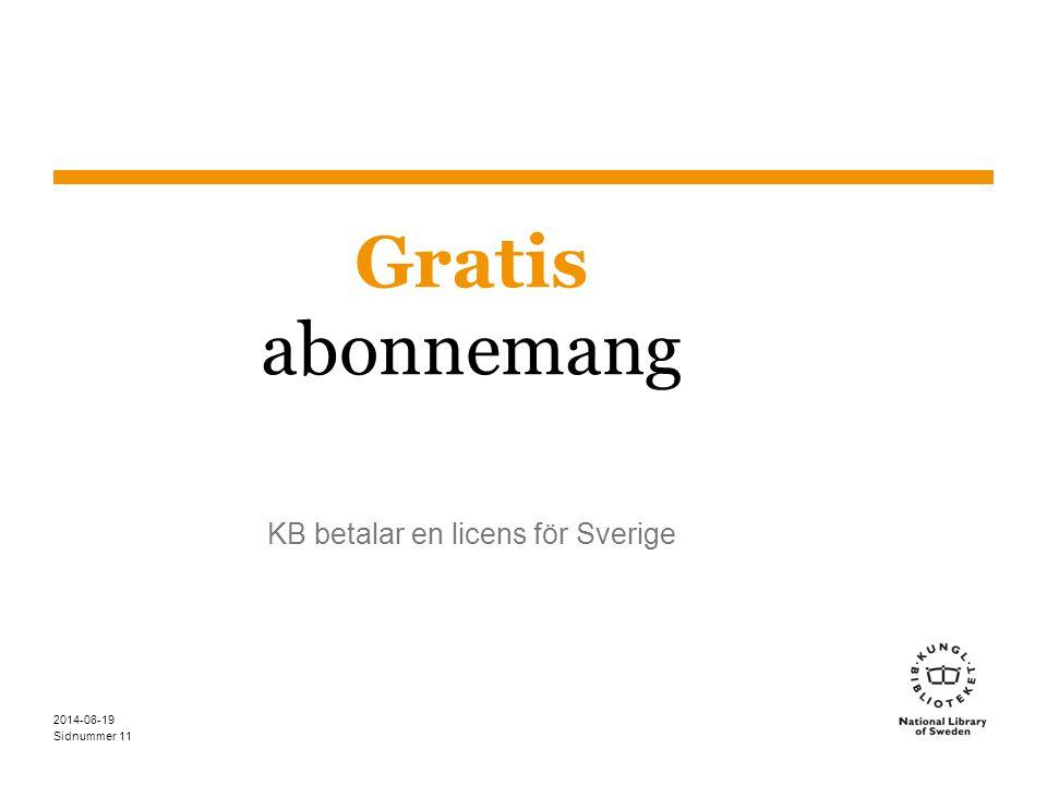 KB betalar en licens för Sverige