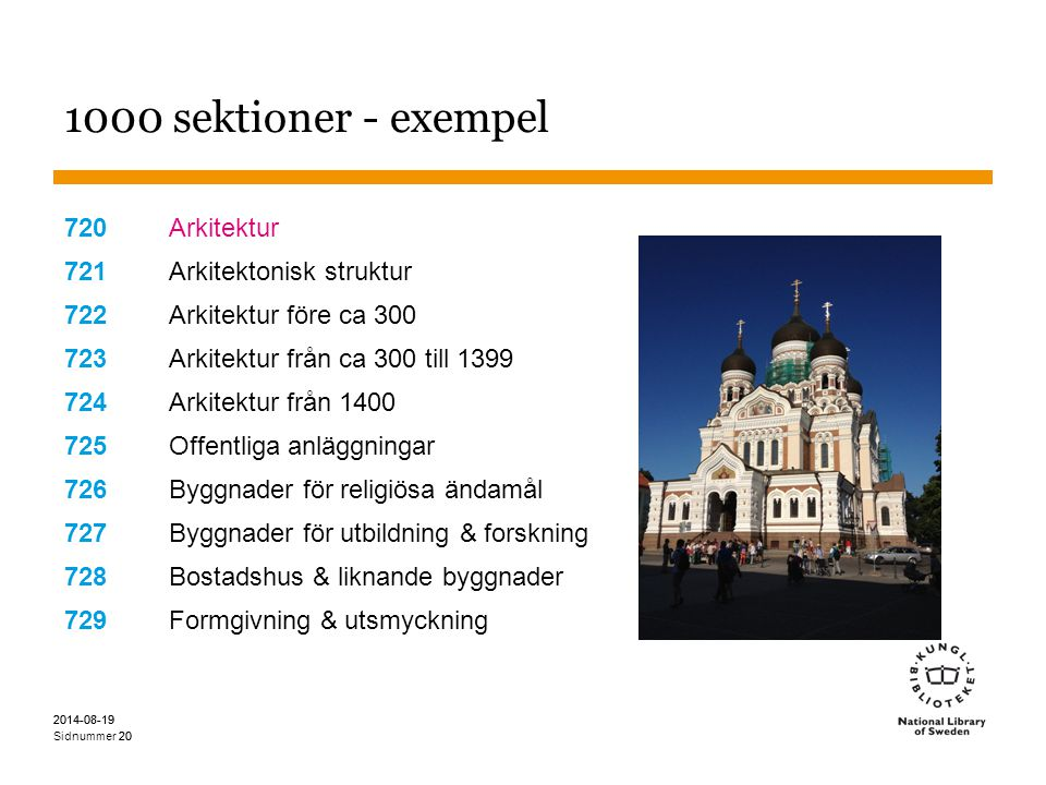 1000 sektioner - exempel 720 Arkitektur 721 Arkitektonisk struktur