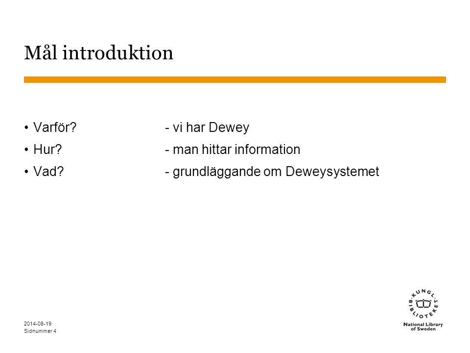 Mål introduktion Varför - vi har Dewey Hur - man hittar information