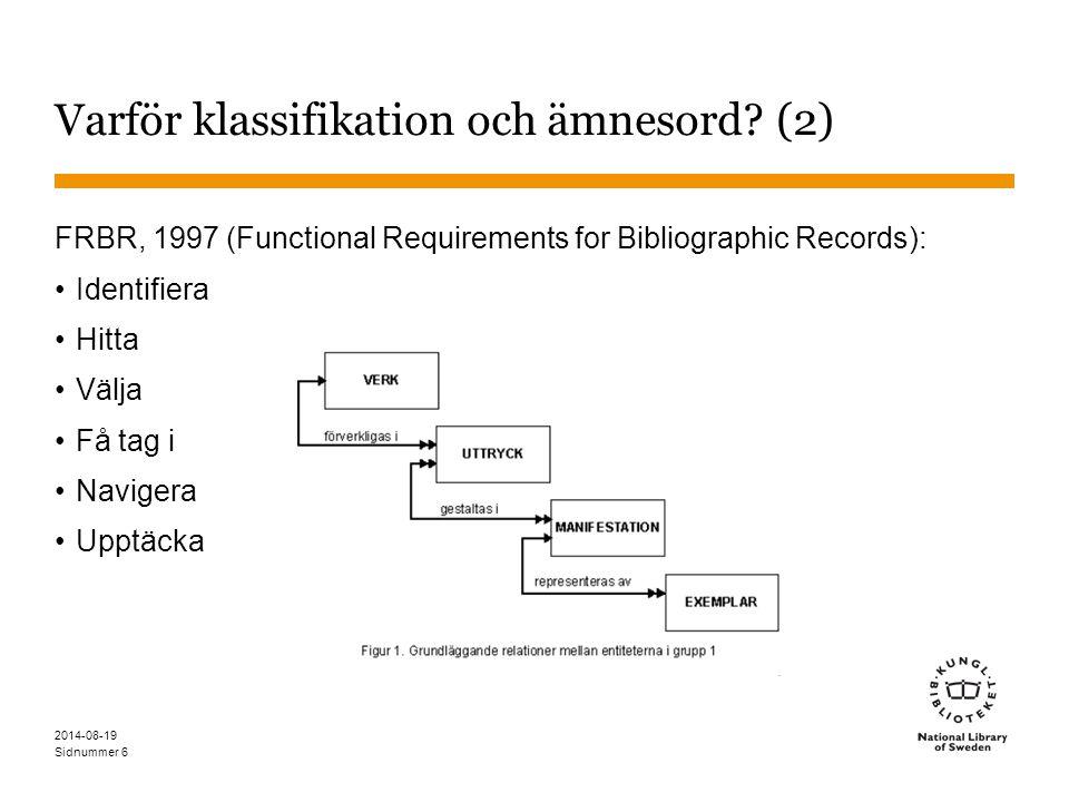 Varför klassifikation och ämnesord (2)