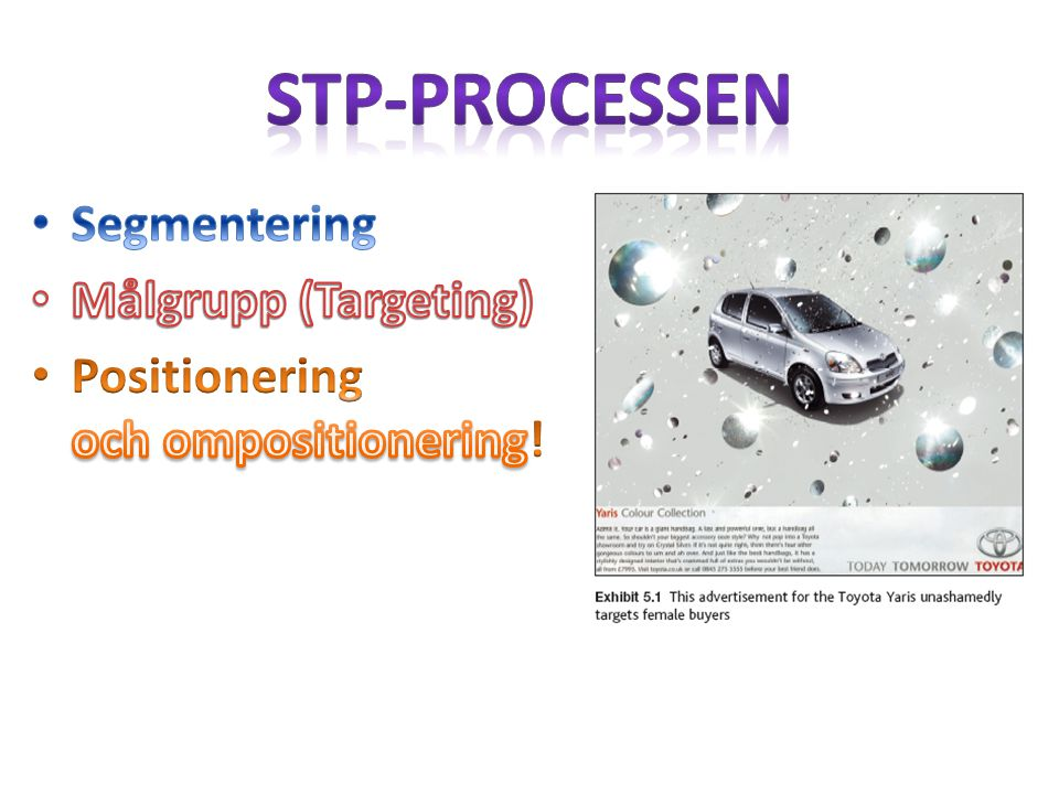 STP-processen Segmentering Målgrupp (Targeting)