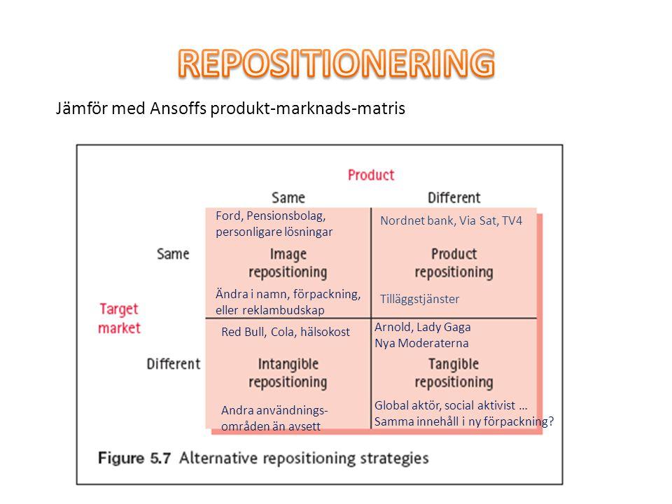 REPOSITIONERING Jämför med Ansoffs produkt-marknads-matris
