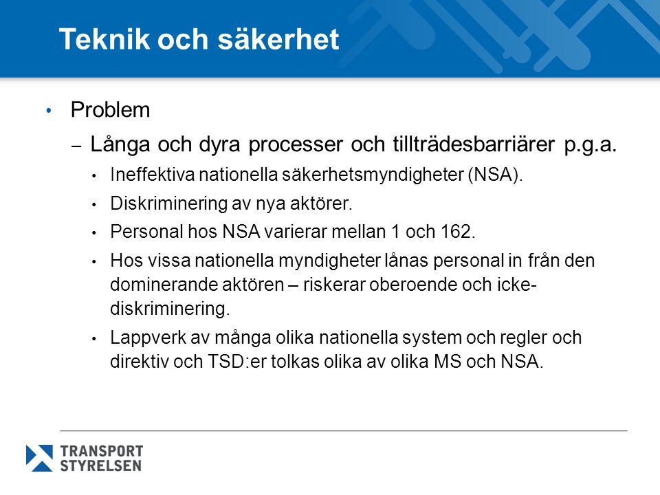 Teknik och säkerhet Problem