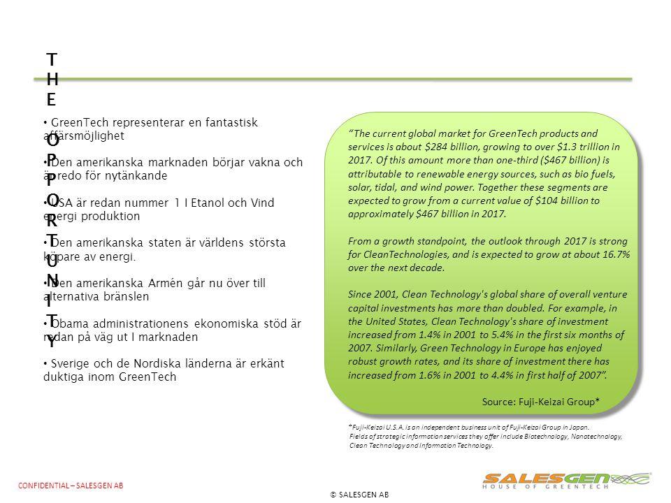 THE OPPORTUNITY GreenTech representerar en fantastisk affärsmöjlighet