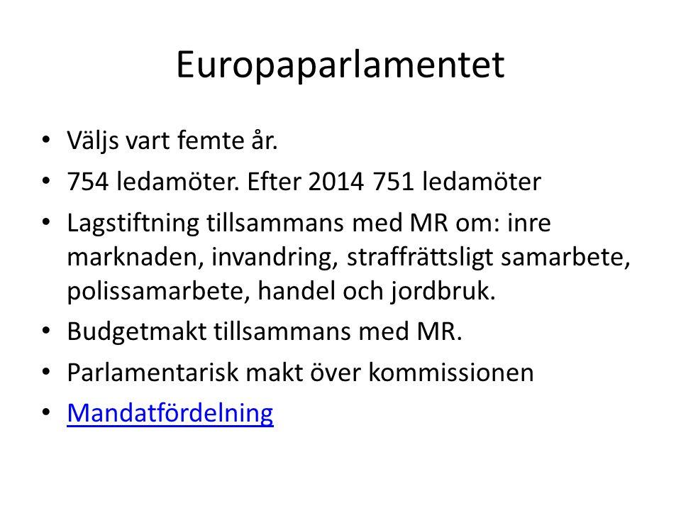 Europaparlamentet Väljs vart femte år.