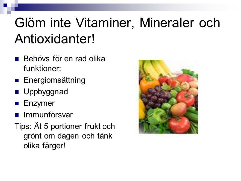 Glöm inte Vitaminer, Mineraler och Antioxidanter!