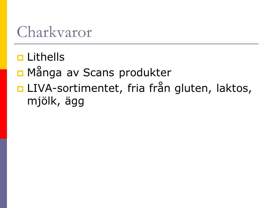 Charkvaror Lithells Många av Scans produkter