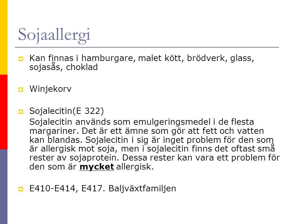 Sojaallergi Kan finnas i hamburgare, malet kött, brödverk, glass, sojasås, choklad. Winjekorv. Sojalecitin(E 322)