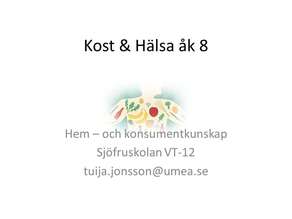 Hem – och konsumentkunskap Sjöfruskolan VT-12 tuija.jonsson@umea.se